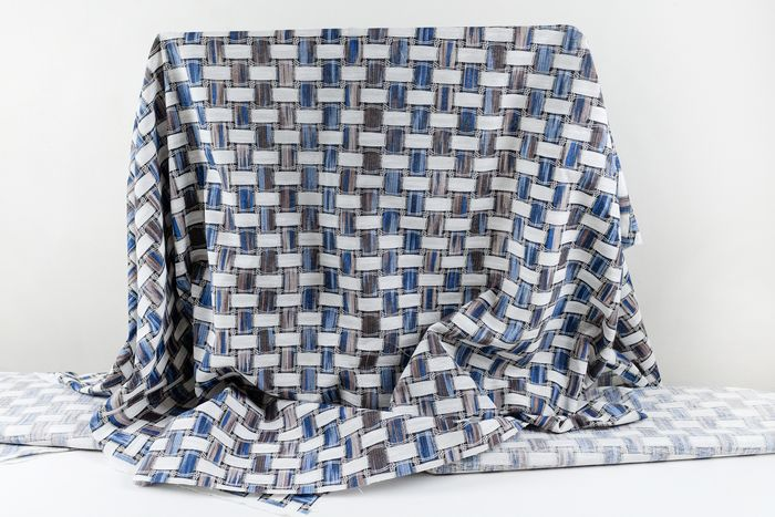 6.00 x 1.40 METERS !!! Fantastic soft panama fabric, with strips white and blue - Cotone, Resina/Poliestere - 21° secolo