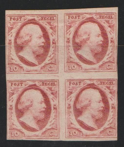 Pays-Bas 1852 - King Willem III in block of four, with plate errors - NVPH 2