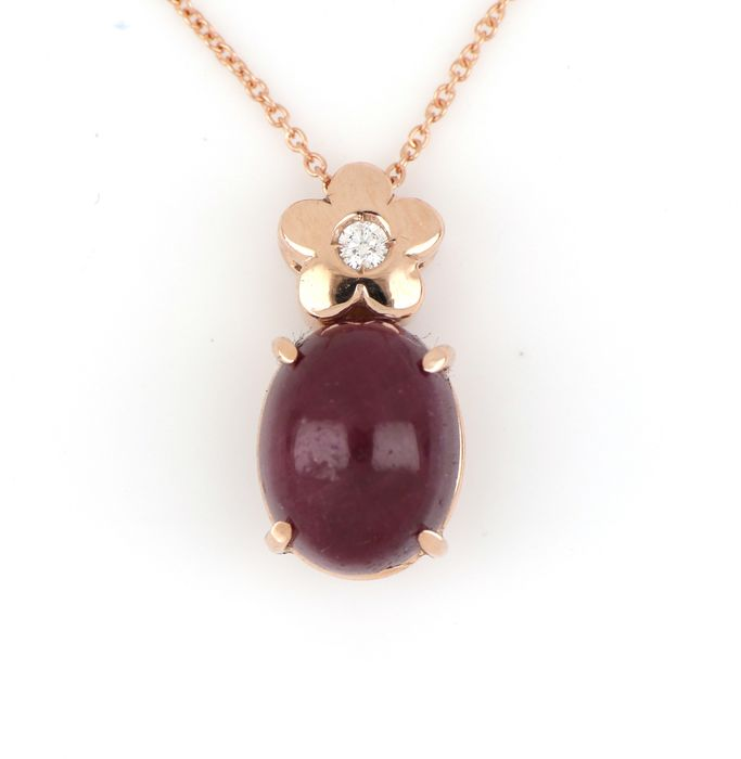 Preview of the first image of 18 kt. Pink gold - Necklace, Necklace with pendant - 2.00 ct Ruby - Diamond.