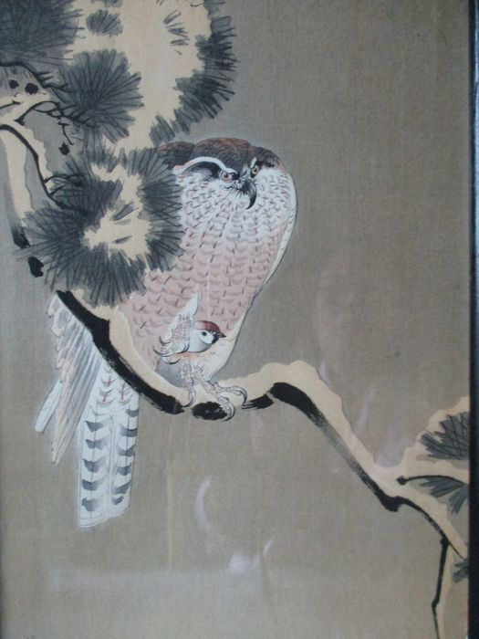 Xilografía original - Papel - Ohara Koson (1877-1945) - Eagle and sparrow - Japón - ca 1900-30s