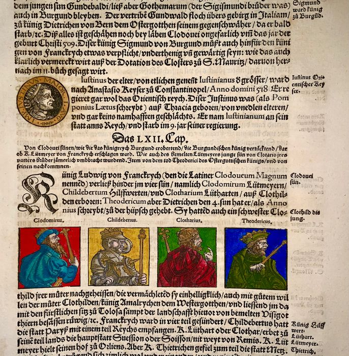 Hans Asper (1499-1571) - Large folio -  Franks and Burgundians - Chlodemer I, Theuderic I, Childebert I, and Clotaire I - Kingdom of Orléans - First Edition - 1548 - 1548