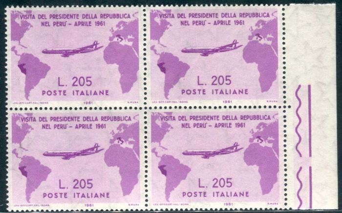 Italien Republik 1961 - Gronchi Rosa 205 lire pink lilac block of four - Sassone N. 921