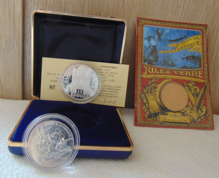 France. 1/4, 10 & 15 Euro Charlemagne 742/814 silver proof with box / 2005 Jules Verne / 2018 Mickey Avignon