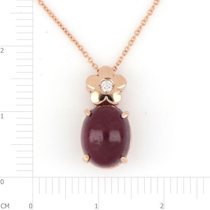 Image 3 of 18 kt. Pink gold - Necklace, Necklace with pendant - 2.00 ct Ruby - Diamond