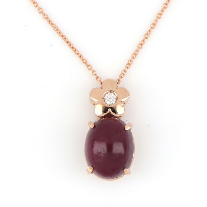 Image 2 of 18 kt. Pink gold - Necklace, Necklace with pendant - 2.00 ct Ruby - Diamond
