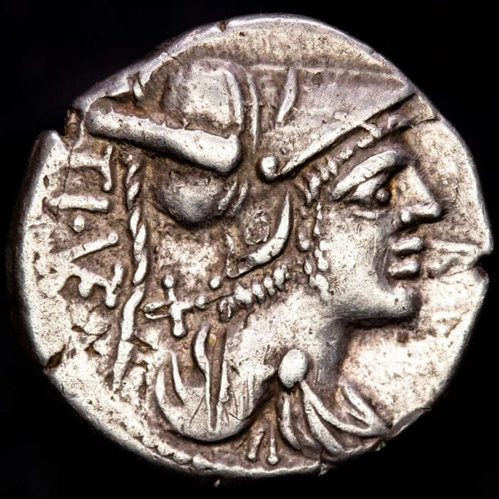 Romeinse Republiek. Ti. Veturius, 137 v.Chr.. AR Denarius,  Rome mint - Young man holding a pig; Soldier on each side, with swords