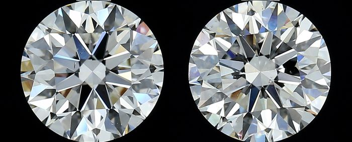 2 pcs Diamantes - 1.31 ct - Redondo - G, H - SI1