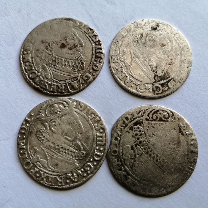 Poland. Lot of 4 various coins 1623-27