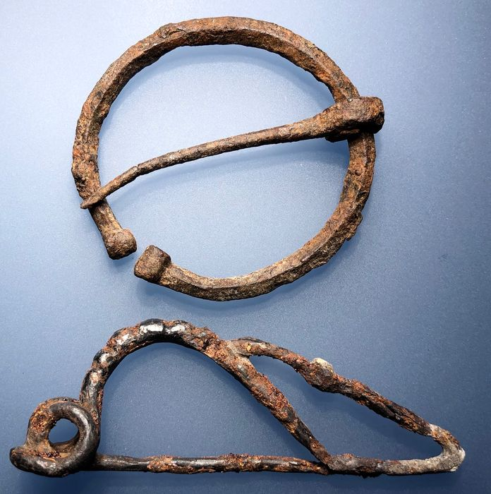 Ancient Celtic Iron La Tene Difficultly shaped lovely Fibula and a Well Preserved Omega Buckle