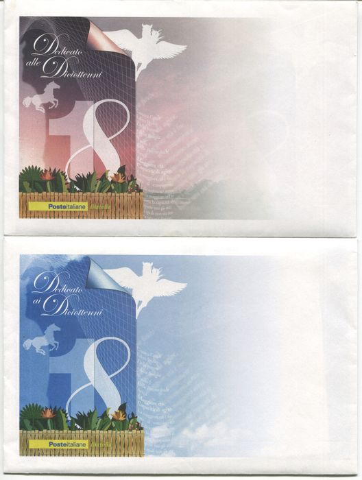 "République d'Italie 2006 - ""Diciottenni"" souvenir sheets, blue and pink pair - Sassone NN. 43/44"