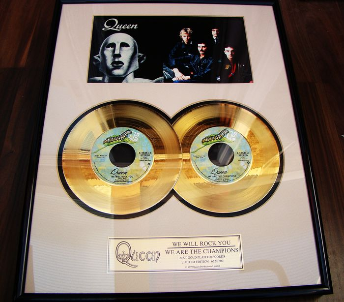 "Queen - 24KT Gold Ltd, ""We Will Rock You"" ""We Are The Champions"" very rare - Offizielle Auszeichnung - 1999/1999"
