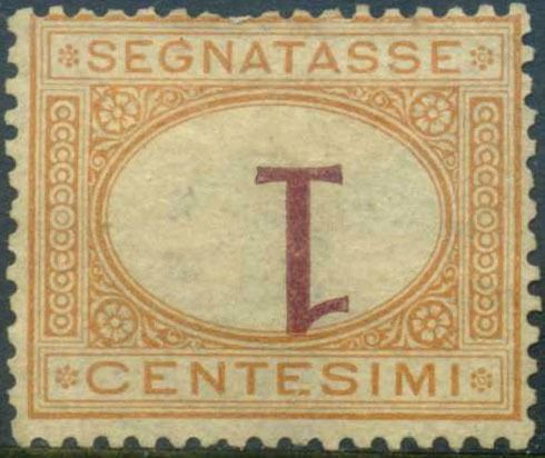 Italy Kingdom 1870 - Postage due 1 cent with inverted figure. - Sassone N. 3b