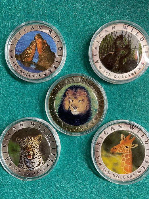 Liberia. 5 & 10 Dollars 'African Wildlife' coloured coins  (5 pieces)