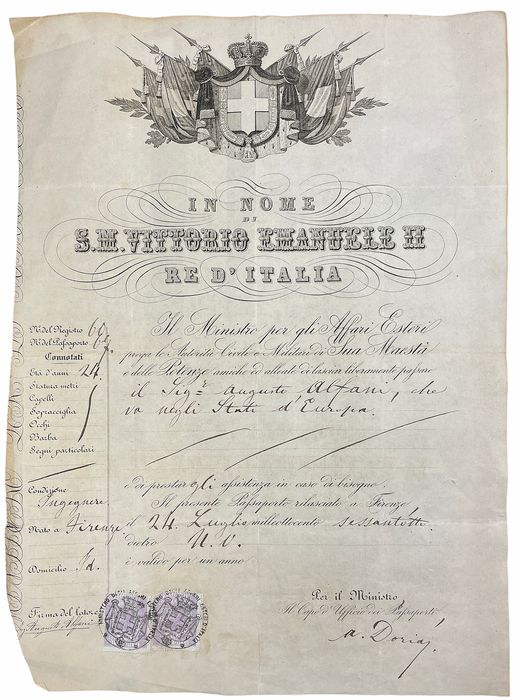 Vittorio Emanuele II (In name of) - Manuscript:Passport for Europe Kingdom of Italy - 1868