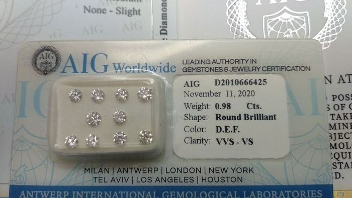 10 pcs Diamants - 0.98 ct - Brillant - D (incolore), E, F - VS1, VS2, VVS1, VVS2