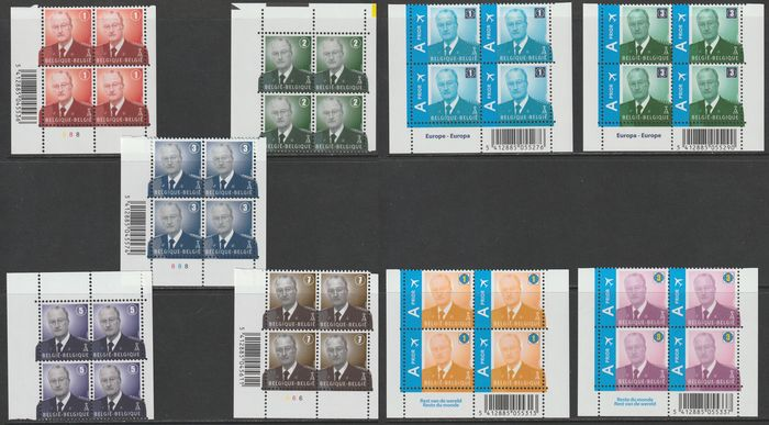 Belgium 2007/2009 - King Albert II, new postage denomination in a block of four - OBP / COB 3695/99 + 3867/70