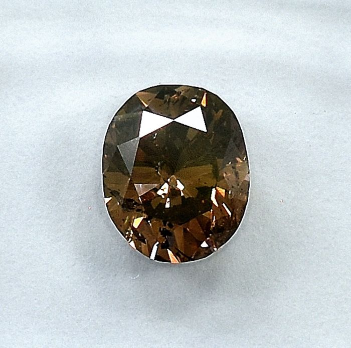 Diamant - 1.09 ct - Oval - Natural Fancy Deep Yellowish Brown - NO RESERVE PRICE