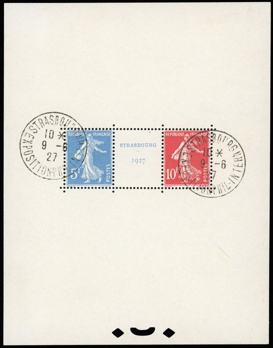 Frankrijk - Blocks and sheetlets - Strasbourg block - postmark - intact gum - Superb - Behr certificate. - Yvert 2
