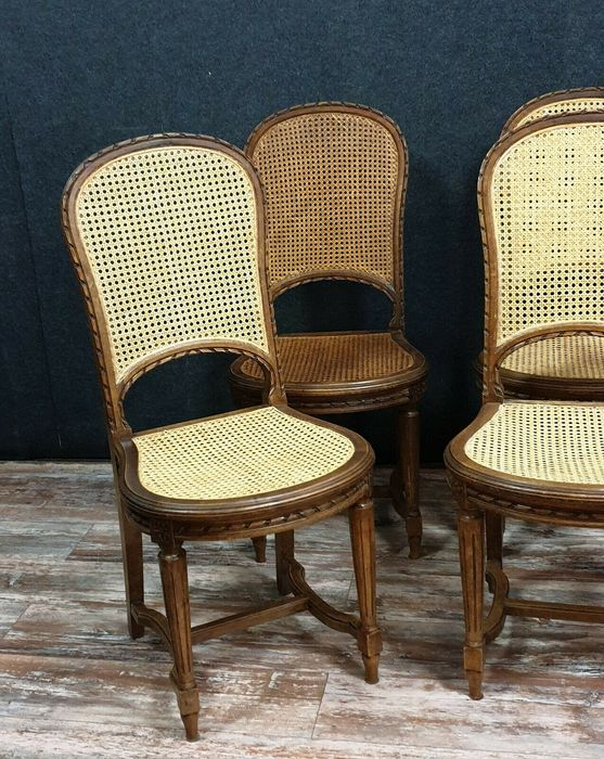 Image 2 of Set of 6 racket chairs - Louis XVI style - Walnut, Cane background - Second half 19th century