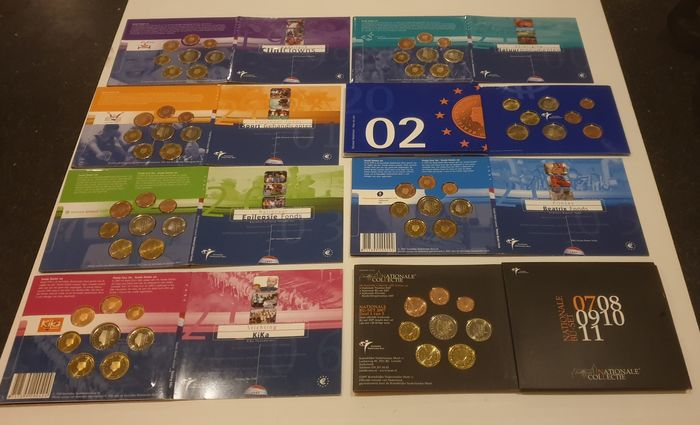 Netherlands. Bu/Fdc sets tussen 1999 & 2007 1 cent tm 2 euro Totaal 8 sets