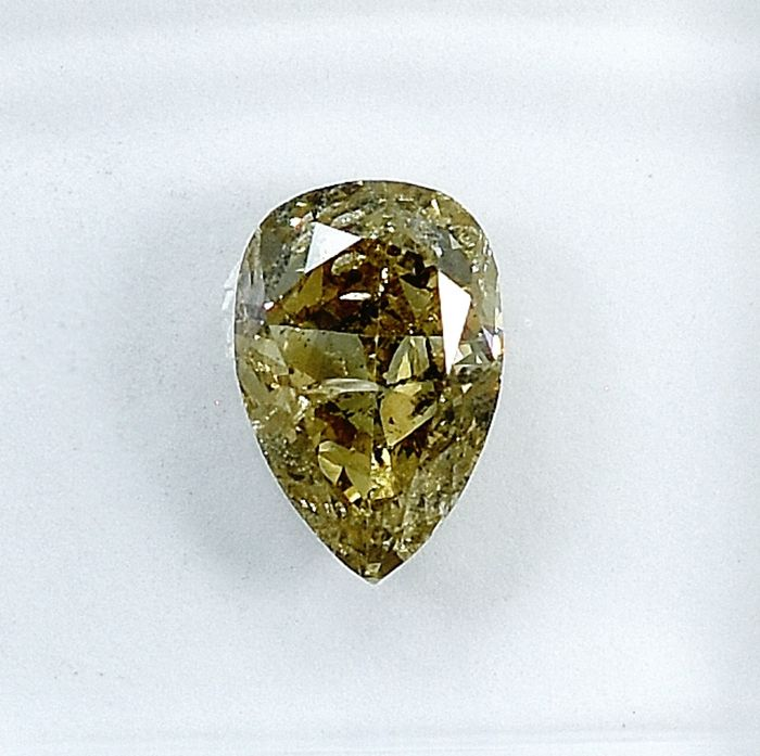 Diamant - 0.97 ct - Poire - Natural Fancy Light Brownish Yellow - I2 - NO RESERVE PRICE