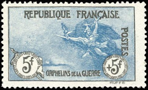 Frankreich - Modern France - 5 francs + 5 francs  Orphans, black and blue, very nice centring, superb, Behr - Yvert 155