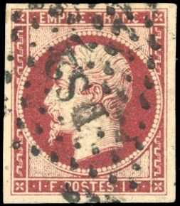 Frankreich - Empire, imperforate 1853 1860 - 1 franc dark carmine, very lovely. Behr certificate. - Yvert 18a