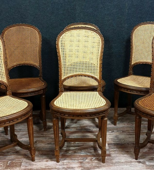 Image 3 of Set of 6 racket chairs - Louis XVI style - Walnut, Cane background - Second half 19th century
