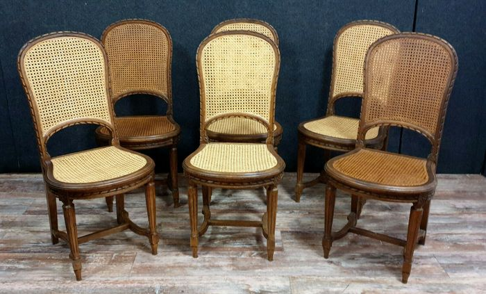 Preview of the first image of Set of 6 racket chairs - Louis XVI style - Walnut, Cane background - Second half 19th century.