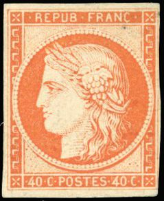 Frankrijk - Ceres, 1849 1850 - 40 centimes  orange, very fresh, white gum. Lovely. Behr certificate. - Yvert 5