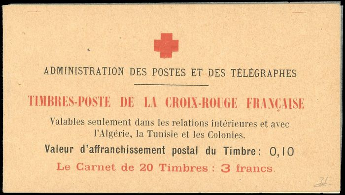 Frankreich - Booklets, 10 centimes + 5 centimes,  Type II, Red Cross booklet - Superb. Rare. Behr certificate. - Yvert 147C
