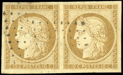 France - Ceres, 1849 1850 - 10 centimes bistre-yellow - pair -  postmarked - superb - Behr certificate. - Yvert 1