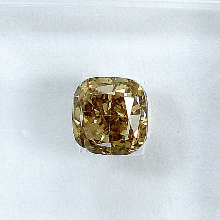 Diamant - 1.01 ct - Carré - Natural Fancy Light Brownish Yellow - SI2