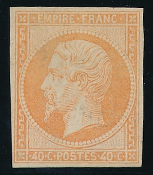 France 1853 - Napoléon III non dentelé, 40 c. orange - Yvert 16