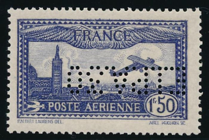 France 1930 - 1 f. 50 outremer, perforation EIPA30 - Yvert Poste aérienne 6c
