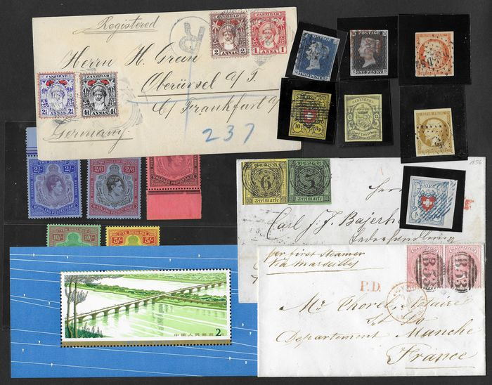 Wereld - nice lot of stamps and documents, treasure trove