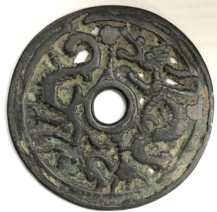 China. AE Amulet / Charm coin Song Dynasty, ca 12th century - double dragons
