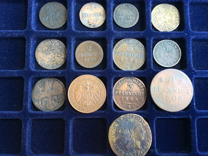 Germany. 13 Coins of XVll-XIX centuries