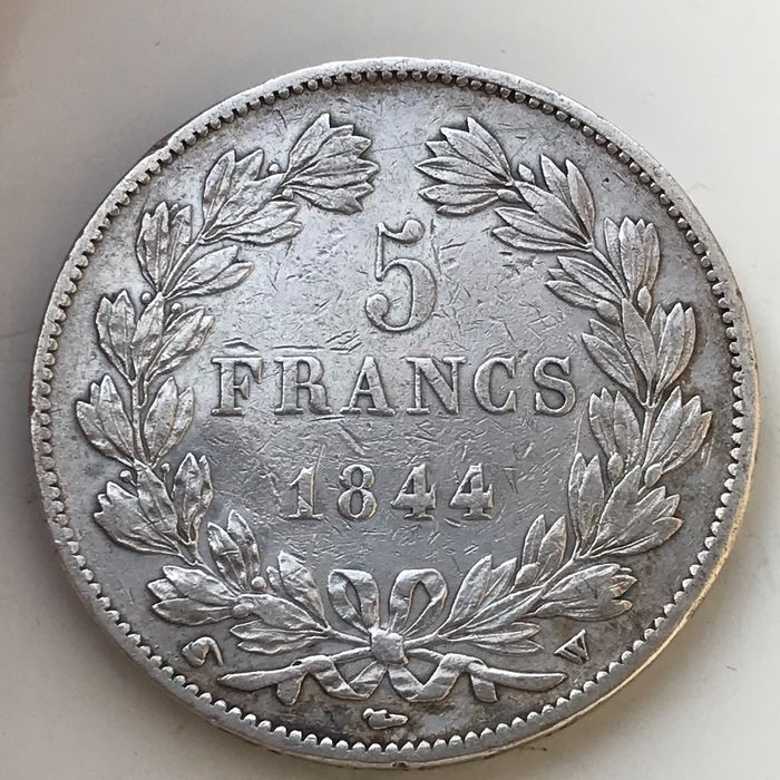 France. Louis Philippe I (1830-1848). 5 Francs 1844-W, Lille