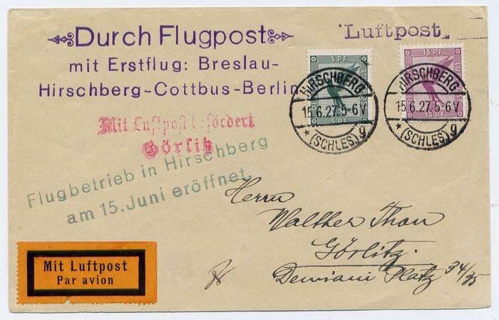 Duitse Rijk 1927 - Lot of 2 covers First Flights : Hirschberg to Görlitz and Stettin to Breslau -