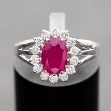 No Reserve Price - Natural Ruby Diamond Ring - 14 kt. White gold - Ring - 1.18 ct Ruby - Diamond, 0.50 Diamonds E-G /VS