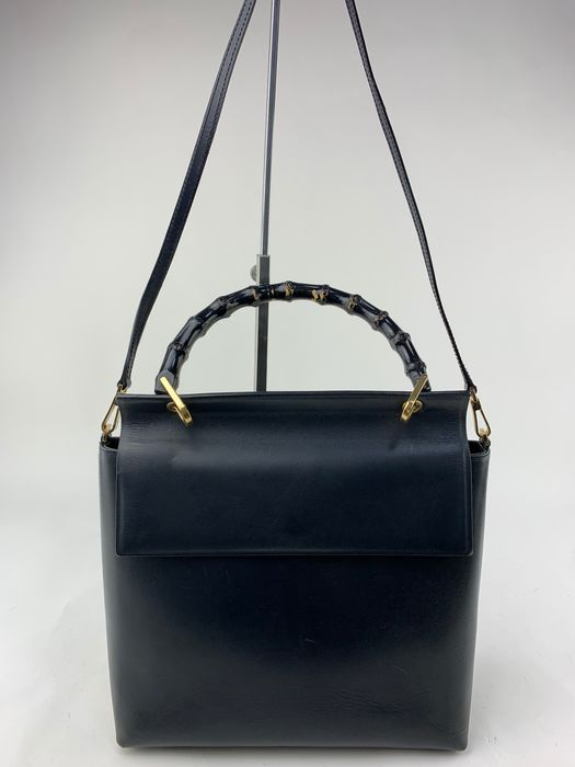 Gucci - Bamboo Handle-Black Leather 2 Way - Sac à main
