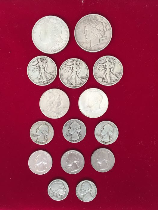 United States. 5 + 25 Cents + 1/2 Dollars and Dollars 1919/1967 (15 pieces) with 13x silver