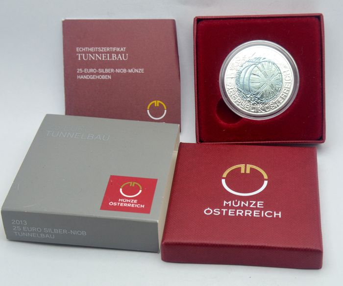 Oostenrijk. 25 Euro 2013 Niob - Tunnelbau with box and CoA