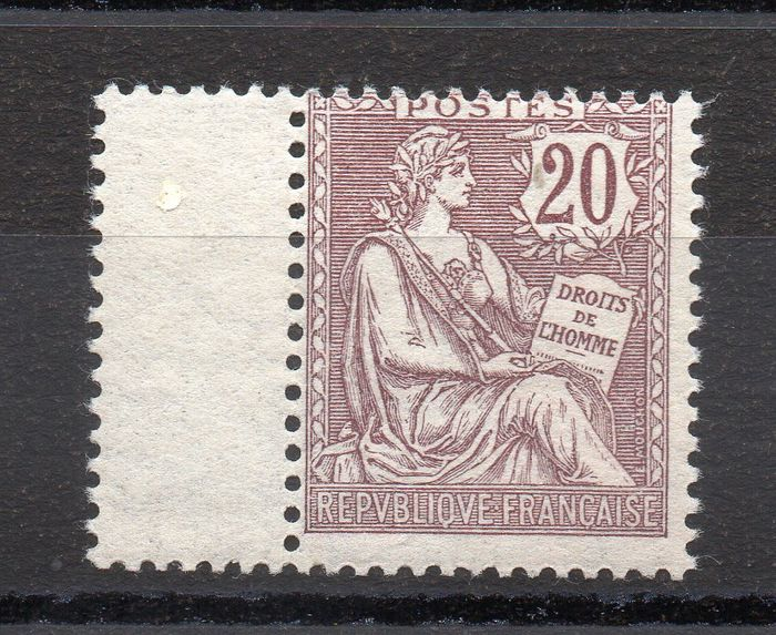 Frankrijk 1902 - Retouched Mouchon, 20 centimes brown-lilac, with gutter. - Yvert n° 126