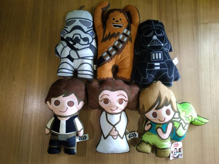 Star Wars - Lot of 6 - Complete Plush Collection (rare) - see photos - TCC - Poppetje(s), Each Doll is 30 cm