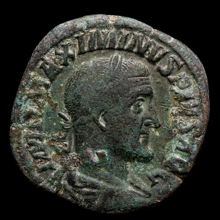 Roman Empire. Maximinus Thrax (AD 235-238). Æ Sestertius,  VICTORIA AVG/ Victory advancing right, holding palm and olive wreath