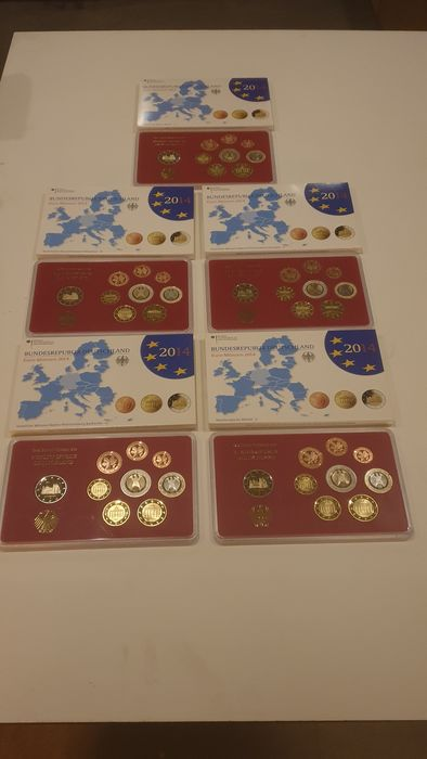 Germany. Proof sets 2014 1 cent tm 2 euro +2 euro cc Niedersachsen adfgj,totaal 5 sets a €5,88