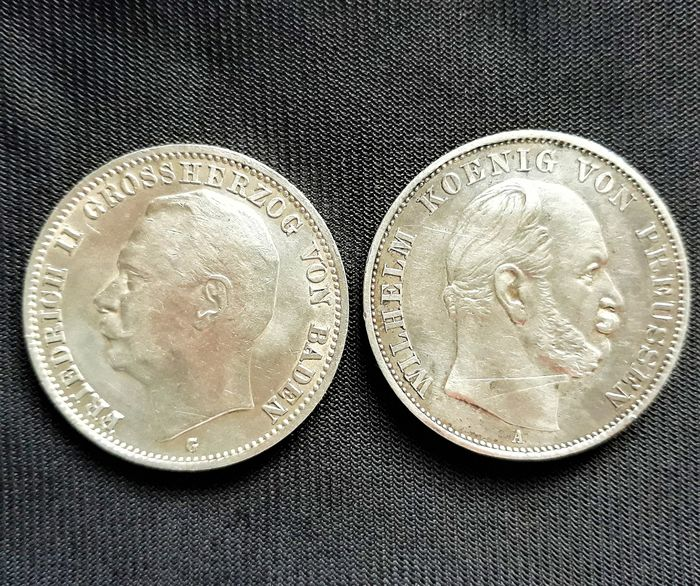 Germany, Prussia. 3 Mark & 1 Thaler 1871-1914