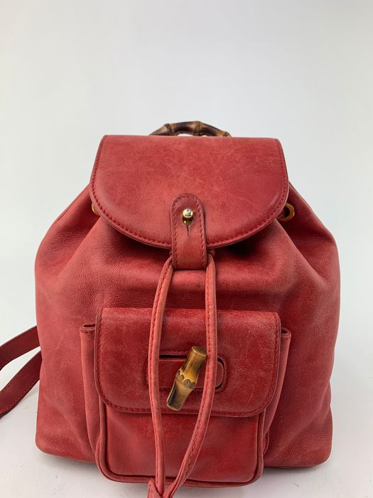 Gucci - Bamboo Handle-Drawstring  Red Leather - Sac à dos